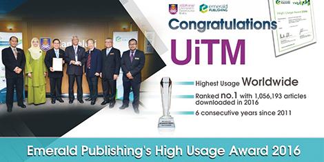 Perpustakaan Tun Abdul Razak UiTM terima Penganugerahan Antarabangsa: Emerald's High Usage Award - Ranking No. 1 bagi 6 tahun berturut-turut